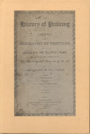 Image for History of Printing in America, The